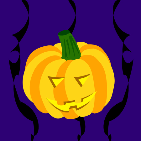 blue smiling: Smiling Halloween pumpkin on a dark blue background with black abstract lines
