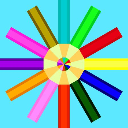 arranged: pencils of different colors are arranged in a circle on a blue background Illustration