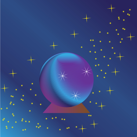 magic ball: magic ball on a purple-blue background with stars Illustration