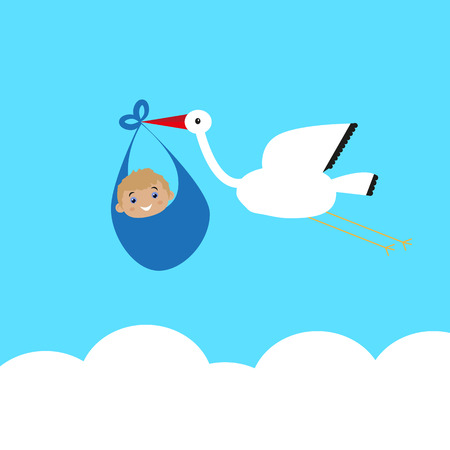 carries: Stork carries a baby in bags above the clouds, congratulations on the completion of the family Illustration