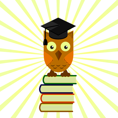 owl in the academic cap sitting on a pile of books, grading on a yellow background with divergent rays Illustration