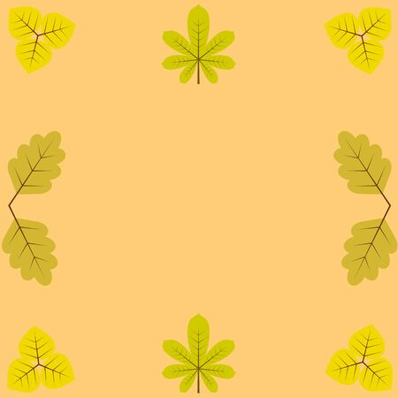 blanks: template, blanks for greetings and recordings, surrounded by yellow leaves of chestnut, birch and oak.