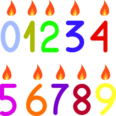 0 9: the numbers 0 to 9 with candles isolated
