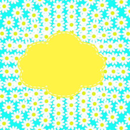 celebrate life: border of camomile flowers with place for text on a turquoise background Illustration