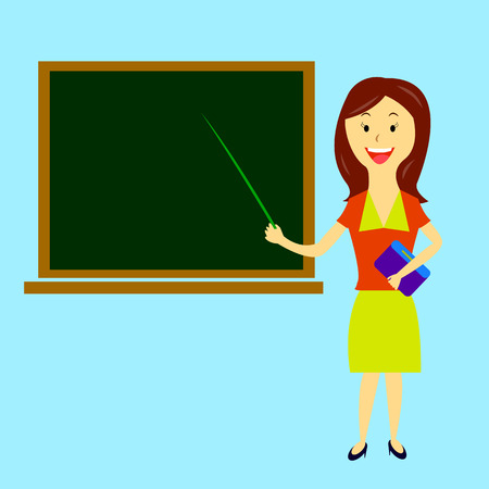 worth: young beautiful woman teacher with pointer in hand is worth about board