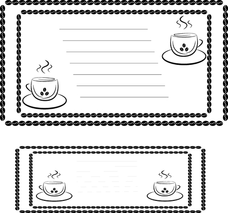 two stroke: invitation template for a coffee house or cafe, two cups and place for text, stroke of the coffee beans