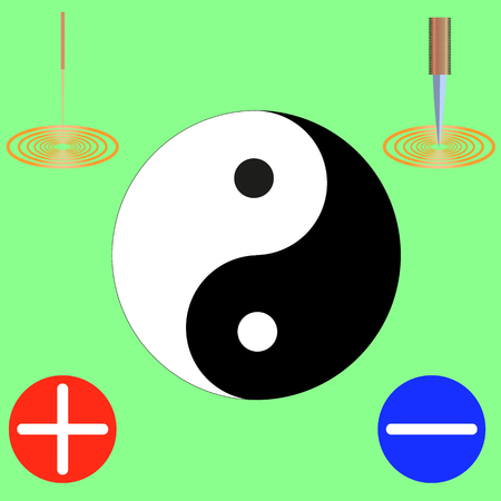 symbol of yin and yang, black and white, at the corners of an acupuncture needle, knife, plus and minus on a green background