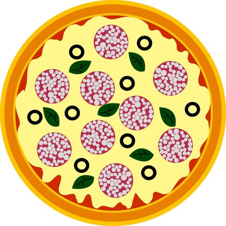pepperoni pizza: pepperoni pizza on a white background, isolated Illustration