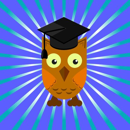 prom night: owl in an academic cap on a blue background with divergent rays