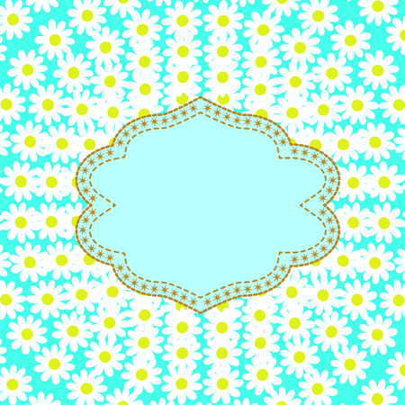 importantly: Greeting card with daisies with space for text with stars and golden sewing stitch Illustration