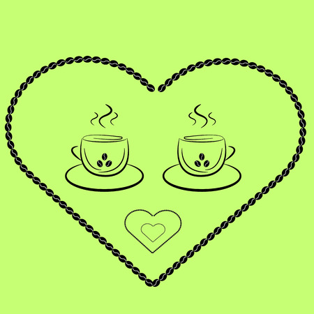 two cups of coffee in the heart of the coffee beans in vintage style