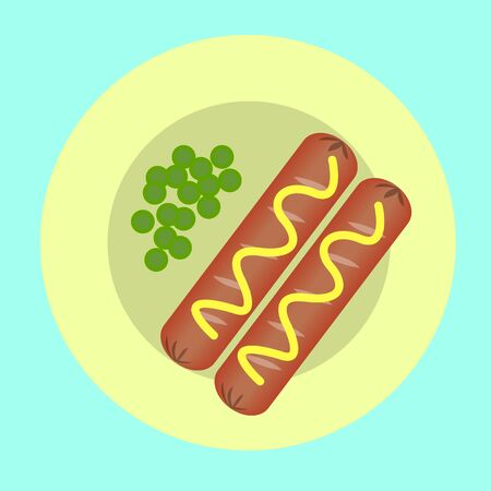 quick snack: two sausages and peas on a plate for breakfast, a quick snack Illustration