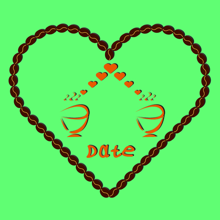 two cups of coffee on a background coffee heart in vintage style, date