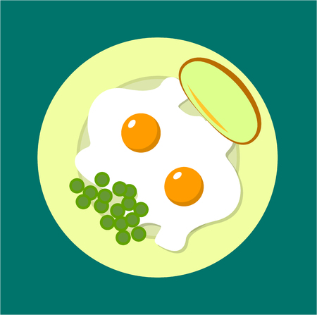 fried eggs: two fried eggs on a plate with peas and bread omelette