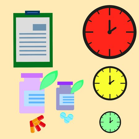 clock, capsules, tablets, and notebook concept symbol dosing schedule
