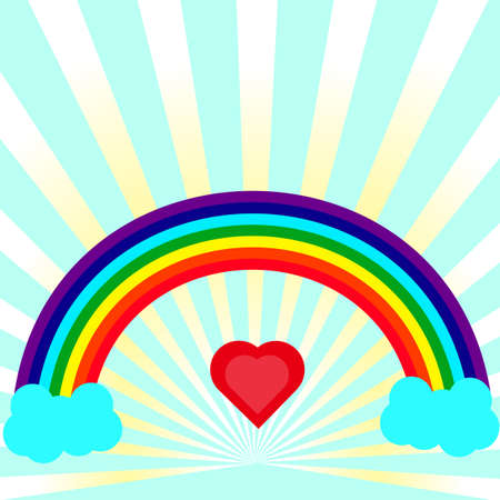 contrary: rainbow arc contrary heart in the center against a background of diverging rays Illustration