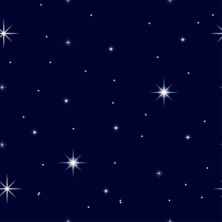 atmospheric: Celestial seamless background with sparkling stars glittering on a dark blue sky in the night