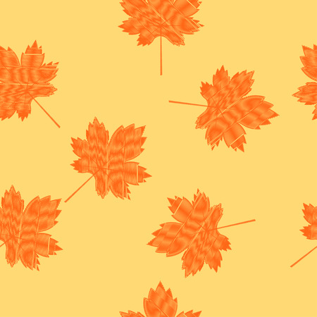 Scribbled maple leaves seamless pattern on a light yellow background. Autumn background. Illustration