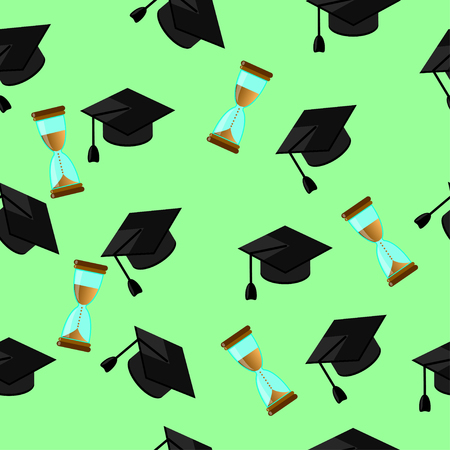 higher education: Seamless pattern of random caps graduations and hourglass on a pale green background. Higher education celebration anniversary symbol pattern. Illustration