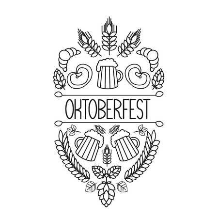 brew house: Oktoberfest traditional food and attributes on craft. Beer, craft brew house sketch doodle collection, vector hand drawn label elements. barrel, mug, wheat, hop plant, bottle, leaf, pretzel. Illustration