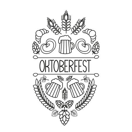 Oktoberfest traditional food and attributes on craft. Beer, craft brew house sketch doodle collection, vector hand drawn label elements. barrel, mug, wheat, hop plant, bottle, leaf, pretzel. Illustration