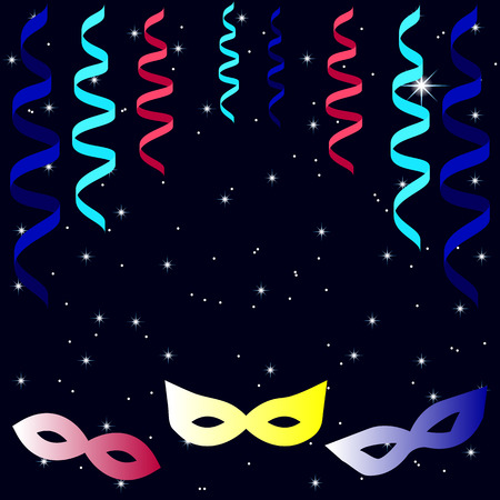 masquerade masks: Masquerade masks with colorful paper streamers and shining stars. Design for invitation, card, poster, flyer. Place for your text.