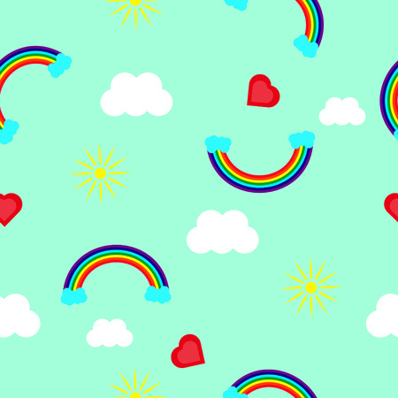 Rainbow, heart, sun and clouds on a blue background in a random order. Rainbow pattern for seamless background.