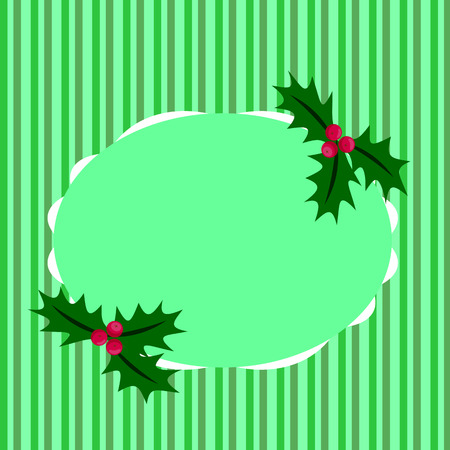 Of Christmas greeting green stripes, holly berries and place for text Illustration
