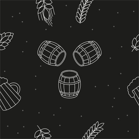 beers: Seamless pattern of beers, ears, hop, pretzels against a black background. For packaging beer, bread and flour products in your cafe, bar, pub, tavern, brewery, restaurant. Natural organic packaging. Illustration