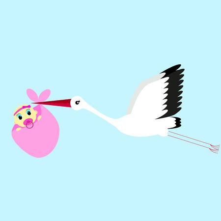 delivering: cartoon vector illustration of a stork delivering a newborn baby girl on a blue background Illustration