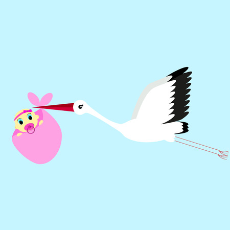 cartoon vector illustration of a stork delivering a newborn baby girl on a blue background Illustration