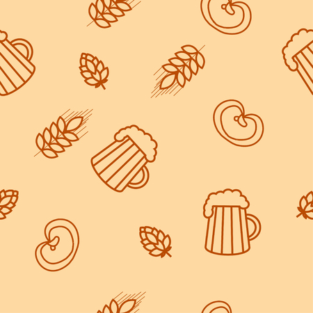 barley hop: Seamless pattern of beers, ears, hop, pretzels. For packaging beer, bread and flour products in your cafe, bar, pub, tavern, brewery, restaurant. Natural organic packaging. Illustration