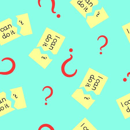 Seamless texture with question mark and the words I can do it on a turquoise background Illustration
