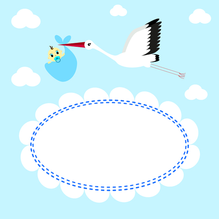 Greeting card Stork delivers baby boy on a background of clouds and sky