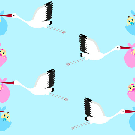 infants: Seamless background with storks carrying infants on a sky background, blue background
