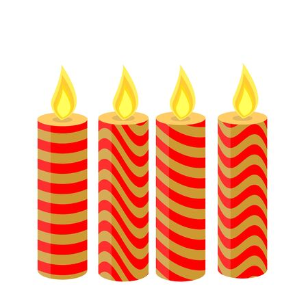 holly day: Christmas candles of different colors, isolated, 4 pieces
