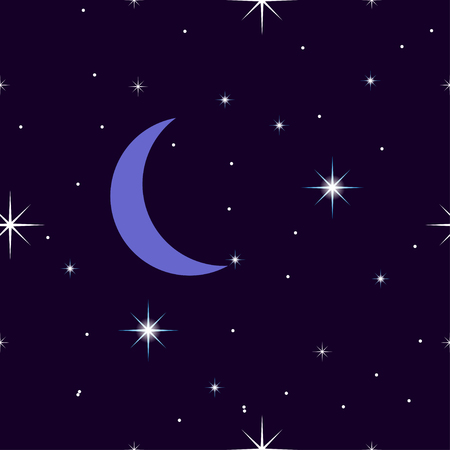 celestial: Celestial seamless background with sparkling stars glittering on a dark blue sky in the night. with the moon, crescent moon