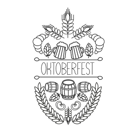 brew house: Oktoberfest traditional food and attributes on craft. Beer, craft brew house sketch doodle collection, vector hand drawn label elements. barrel, mug, wheat, hop plant,  croissant, bottle, leaf, bagel, pretzel. Illustration