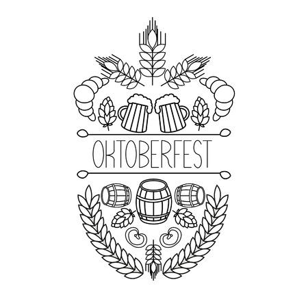 Oktoberfest traditional food and attributes on craft. Beer, craft brew house sketch doodle collection, vector hand drawn label elements. barrel, mug, wheat, hop plant,  croissant, bottle, leaf, bagel, pretzel. Illustration