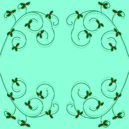 sprig: Christmas holly frame on turquoise background