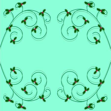 aquifolium: Christmas holly frame on turquoise background