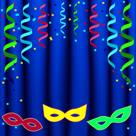 carnival poster template with masks and curtain on  blue background