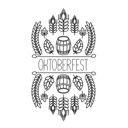brew house: Oktoberfest traditional food and attributes on craft. Beer, craft brew house sketch doodle collection, vector hand drawn label elements. barrel, mug, wheat, hop plant, bottle, leaf.