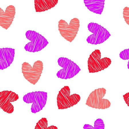 Scribbled red, pink and purple hearts, seamless pattern
