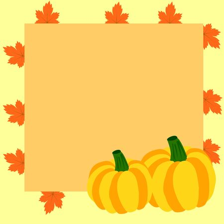 room for text: Autumn frame with pumpkins and maple leaves and room for text Illustration