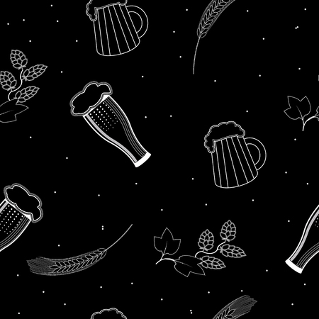 tavern: seamless pattern glasses and a mugs of beer, hops and barley on a black background. For packaging beer, bread and flour products in your cafe, bar, pub, tavern, brewery, restaurant.