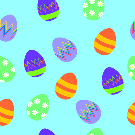Easter seamless pattern with colorful eggs. Perfect for season greetings, wallpaper, wrapping paper, pattern fills, background and spring holiday greeting card. Illustration