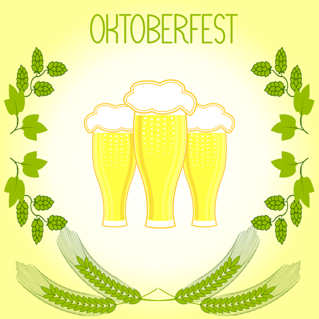 tankard: Three glasses of beer, barley stalks and branches of hops, Oktoberfest. On light yellow background