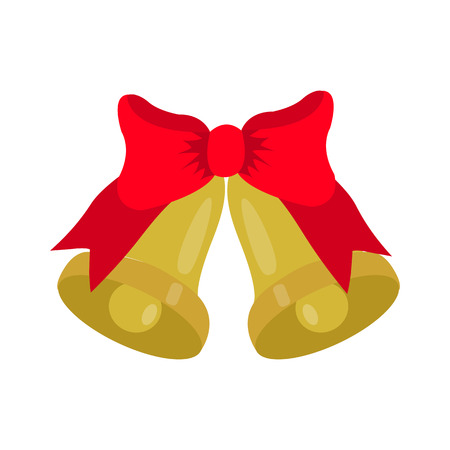 jingle bells: gold Jingle bells with red bow, isolated