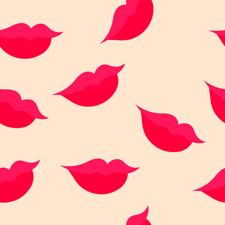 slight: seamless pattern of female lips with a slight smile on a light pink background